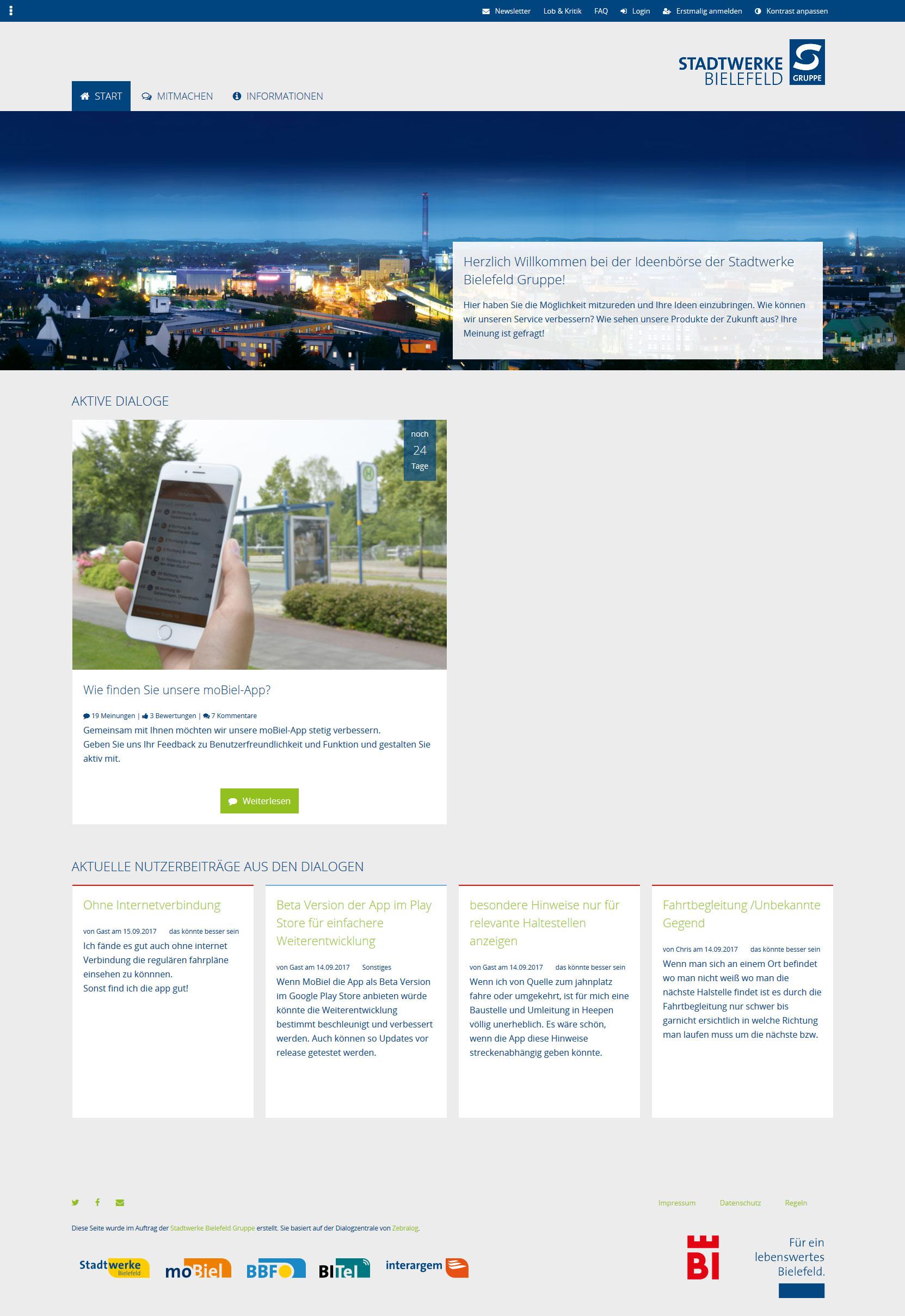 Lebenswertes Bielefeld - Neu: Dialogplattform mitreden-bielefeld.de